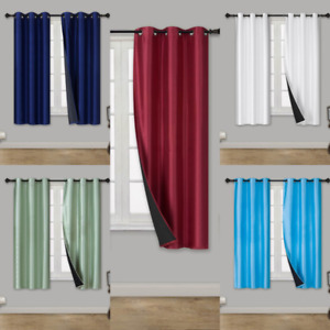 1 Set Short Silk Window Blackout Insulated  Thermal Lining Curtain ELIO 36""