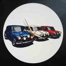 """1969 Italian Job Mini Coopers 12"""" LP Vinyl Record Clock, pop art canvas, 60s mod"""