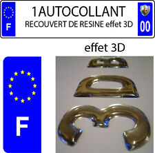 1 sticker plaque immatriculation auto DOMING 3D RESINE F ET ETOILE COTE GAUCHE