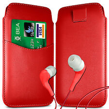 CARD SLOT PU LEATHER PULL FLIP TAB CASE COVER & EARPHONES FOR NOKIA PHONES