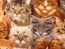 KITTIES CATS REALISTIC KITTY CAT LARGE COTTON FABRIC FQ
