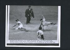 Joe Collins sliding home plate 1954 Wire Photo Yankees Yogi Berra Clint Courtney