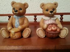 Vintage 1980s Homco porcelain Teddy Bears #1405 Boy with Honey Girl with apples