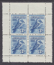 Australia Sc 95a Mnh. 1928 3p Kookaburra, Melbourne Exhibition Pane of 4, Vf
