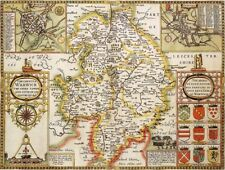 WARWICKSHIRE 1610 by John Speed - reproduction old map
