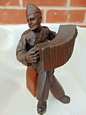 More details for vintage wwii russian red army soldier vasily terkin wood carved folk art figure