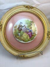 Vintage Limoges France Fragonard Painted Porcelain Oval Framed.