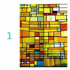 Retro Colorful Door Window Films Frosted Privacy Glass Sticker Home Adorn Crafts