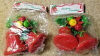 """Vintage Red Flocked 2.625"""" Christmas Bells Set of Four - Original Pkg W/Holly"""