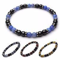 Bracelet homme/femme perles 6mm naturelle Pierre de gemmes métal inoxydable P136