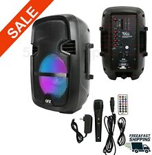 "8"" 4400Watt Portable FM Bluetooth Speaker Sound System Party Tailgate Mic Remote"