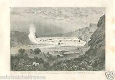 Great Falls Missouri River Montana Rocky Mountains USA GRAVURE OLD PRINT 1869