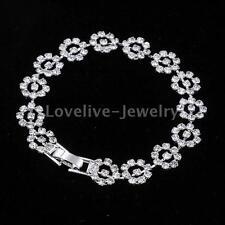 Shiny Crystal Rhinestone Flower Bridal Bangle Bracelet Wedding Prom Jewelry Gift