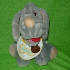 Vintage WRINKLES PUPPY Gray with Bib Pup Dog Toy 1991 Ganz Brothers