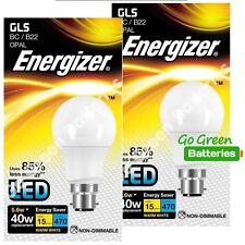 2x Energizer B22 5.6 Watt GLS LED Bulb. 470 Lumens. Equivalent - 40W (Opal)