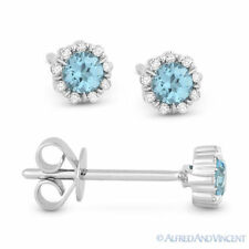 0.34 ct Round Cut Blue Topaz & Diamond Pave Baby Stud Earrings in 14k White Gold