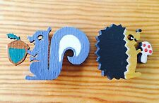 Animal hand painted laser cut plywood Squirrel and Hedgehog Badge/Brooch