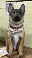 Life Like Faithful German Shepherd Guard Dog Large Figurine Hand Painted New
