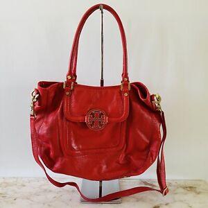 TORY BURCH Solid Magenta Shiny Leather Shoulder Bag