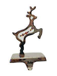 Reindeer Christmas Stocking Holder Hanger Hollow beaded Chrome silver tone