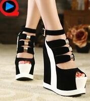 Womens Platform Punk Wedge Heel Ankle Strap Peep Toe Sandals High Heel Shoes