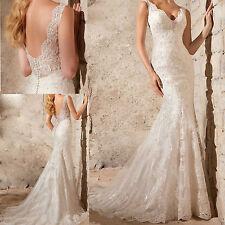 Custom Mermaid V Neck Lace Wedding Dresses Bridal Gown White Ivory 2 4 6 8 10 12