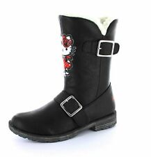 Hello Kitty Infant Kids Girls UK 9 Black Winter Woolies Zip Fur Boots Shoes