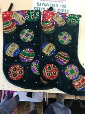 Christmas Stockings Set Of 2 Velvet With Sequin Ornaments Green Red Beaded