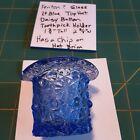 Fenton Small Light Blue Glass Tophat Toothpick Holder Daisy & Button 1 3/4