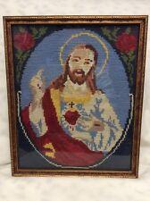 Vintage Hooked/ Embroidery Jesus W/ Cross FRAMED NEEDLEWORK GOLD FRAME