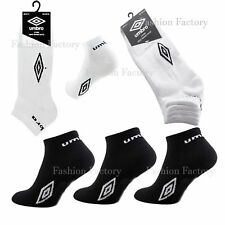 Mens Umbro Trainer Socks Sports Ankle Liner Cotton Rich Socks White Black UK6-11