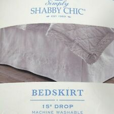 Simply Shabby Chic Queen Size Bedskirt Embroidered White Linen Cotton