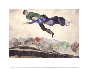 MARC CHAGALL Over The Town 17.5 x 22 Poster 1993 Modernism Multicolor, Neutral