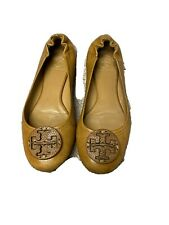 Tory Burch Reva Royal Tan Tumbled Leather Flats Shoes Slides Size 7.5 in Box