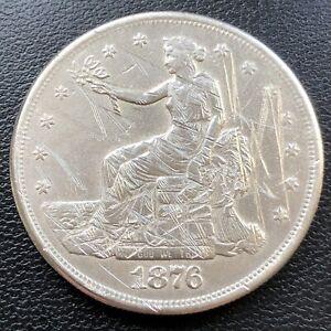 1876 S Trade One Dollar $1 High Grade XF - AU Details #28718