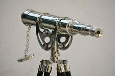 Antique Nautical Floor Standing Brass 18 Inch Telescope With Wooden Tripod Stand