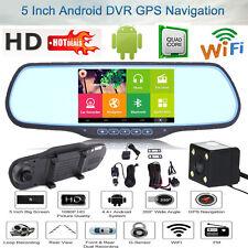 "5"" Android Dual Lens GPS WIFI HD 1080P Car DVR Rear View Mirror Dash Cam Camera"
