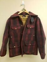 Vintage WOOLRICH Men 50s HUNTING COAT Wool  Buffalo Plaid 42 Jacket USA Game Bag