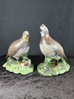 Vintage Holland Mold Quail/Pheasant Hand Painted Ceramic Figurines Male/Female