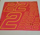PINK CHROME w/Yellow  #2's Decal Sticker Sheet DEFECTS  1/8-1/10-1/12 RC Mo BoxD