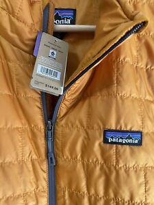 New Patagonia Men's Nano Puff Vest Hammonds Gold Size Large (Orange & Grey)