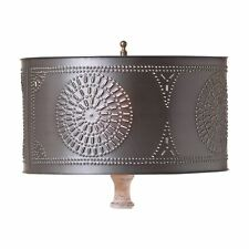 COUNTRY PRIMITIVE FARMHOUSE TABLE LAMP DRUM METAL SHADE W/ CHISEL ~ KETTLE BLACK