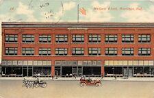 F50/ Hastings Nebraska Postcard 1919 Madgett Block Stores Automobiles