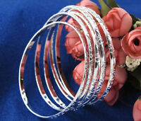Wholesale 925 Silver-Sterling Womens Men Fashion Bracelet Cuff Bangle Chain Gift