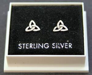 Sterling Silver 925 Stud Earrings  CELTIC TRINITY KNOT  BUTTERFLY BACKS   ST168