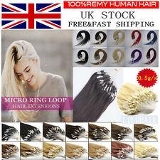 "14""-26''Staight Remy Micro Loop Ring Beads Remy Human Hair Extensions 100s In UK"