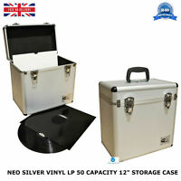 "2 X NEO Aluminium Silver DJ Flight Case to Store 50 Vinyl LP 12"" Records STRONG"