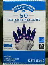 Holiday Time 50 Purple LED Mini Lights White Wire Indoor/Outdoor NIB