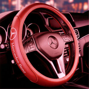 """15"""" Car Steering Wheel Cover Genuine Leather For Mercedes-Benz Brown New"""