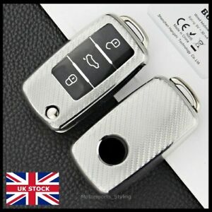 Carbon Silver Key Cover For VW Caddy Golf T5 T6 Touareg Polo UP! Case Fob t57cf*